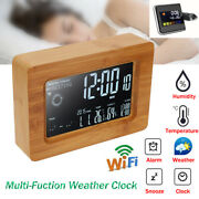 Wireless Wifi Digital Weather Station Lcd Display Alarm Clock Thermometer Indoor