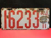 Vtg Collectible Porcelain Nj 16233 Automobile/automotive License Plate 1911