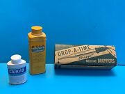 Vtg Collectible Health Lot Medicine Droppers In Box, Caroid And Dr. Scholls Tins