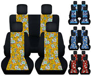 Front+ Rear Hibiscus Flower /palm Tree Car Seat Covers Fits 98-2018 Vw Beetle