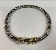 David Yurman Classic Cable Buckle Choker Necklace Silver And 14k Yellow Gold
