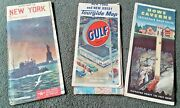 Vintage Road Maps New York Howe Caverns Nyc Nj 1940's 1950's Lot Of 3