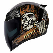 Icon Air Flight Uncle Dave Motorcycle Crash Helmet Skull Dagger Sword Death