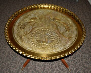 Oversize Indo-persian Heavy Brass Serving Tray / Charger / Platter Wall Hanging