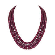Extra Large 1633.70ct Natural Deep Red Ruby Faceted Beaded Necklace In Three Row