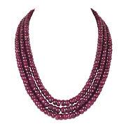Far Size 1560.00ct Natural Red Ruby Faceted Beaded Gemstone Necklace In 3 Row