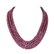 Far Size 1532.70ct Natural Red Ruby Faceted Beaded Gemstone Necklace In 3 Row