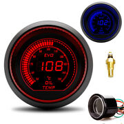 2 52mm Car Auto Blue/red Digital Led Water Temp Temperature Gauge With Sensor