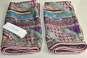 New Camilla 2 Pc Euro Square Cushion Pillow Cover Case Crystals Pink Purple Silk