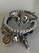 Alex And Ani 5 Pieces Silver Toned + Beaded Energy Bracelets - Heart Inital 'd'