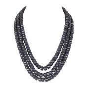 1773.90ct 100 Natural Faceted Blue Sapphire Gemstone Beaded Necklace In 3 Row