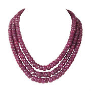 Extra Large 1518.40ct Natural Deep Red Ruby Faceted Beaded Necklace In 3 Row