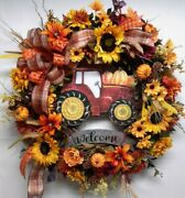 Fall Door Wreath Autumn Flower Wall Decoration Country Tractor Ready To Hang