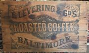Vintage Baltimore Roasted Coffee Wooden Crate Wood Box Old Collectible