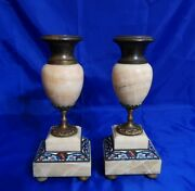 Pair Of Bronze Brass And Marble Candle Holders / Bookends French Cloisonne