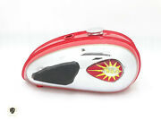 Bsa C15 Red Painted Chrome Fuel Petrol Tank + Cap+ Knee Pad+ Tap fit For