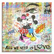 Is Love -original Oil Acrylic Stencil Collage Painting On Canvas By Dr8love