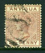 Antigua-1879 2andfrac12d Red Brown Large 2 In 2andfrac12 With Slanting Foot A Fine Used