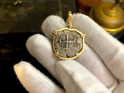 Bolivia 2 Reales 1733 Dated 14kt Bezel Pirate Gold Coins Jewelry Treasure Pedant