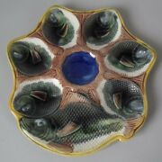 Adams And Bromley Majolica 6 Well Fish Oyster Plate