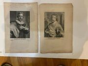 Antique Engravings After Anthony Van Dyke Of Barbe And Pollenbourg 17th Century