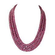 Extra Large 1780.10ct Natural Deep Red Ruby Faceted Beaded Necklace In 3 Row