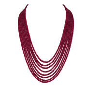Extra Large 769.30ct Natural Deep Red Ruby Faceted Beaded Necklace In 8 Row