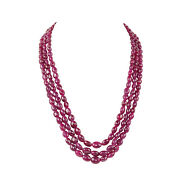 996.00ct Far Size Natural Deep Red Ruby Gemstone Beaded Necklace In 3 Row