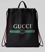 2018 Print Leather Drawstring Backpack New 1980 Current Retail