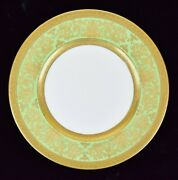 Beautiful Cauldon England Ovington Brothers Dinner Plate With Gold Rim And Green