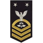 Navy E9 Male Rating Badge Aircrew Survival Equipmentman -seaworthy Gold On Blue