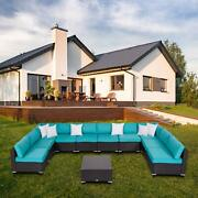 Wicker Patio Furniture 11 Piece Outdoor Sectional Sofa Set With Cushion