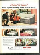 1950 Simmons Makes Hide-a-bed Double Duty Man Woman Sleeping Vintage Print Adl50