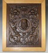 Fab Antique Hand Carved Oak Panel In Frame