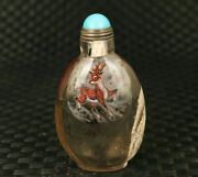 Only One Natural Hair Crystal Hand Painting Deer Club Statue Snuff Bottle