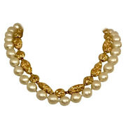 Vtg 1970s Faux Gold Nugget And Pearl Necklace Rare Costume Jewelry