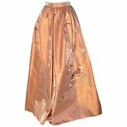 Christian Lacroix Salmon Pink Full Gown Skirt With Bird Floral Embroidery Fits 2