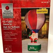 New Holiday Home Accents 12ft Led Christmas Santa In Hot Air Balloon Inflatable