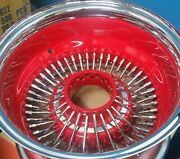 4-13x7 72 Reverse - Fire Engine Red Spokes/dish/hub/chrome Ring W/impala Emblem