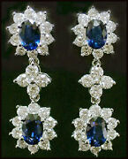 Sparkling 1.28ct Diamond Blue Sapphire Solid Gold Engagement Earrings