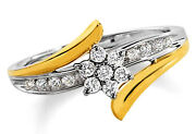 Anniversary 0.37ct Diamond Solid Gold Engagement Womenand039s Ring Christmas