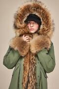 Unisex Customized Colored Real Fur Hooded Long Coat Parka