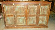 Antique Indian Chest Rustic Blue Reclaimed Sideboard Tv Console Media Cabinet 66