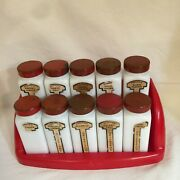 Vintage Red Set Of 10 Griffith Lab Milk Glass Spice Jars And Red Plastic Rack