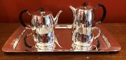 Rare David Mellor Pride Pattern Tea Set On Matching Tray For Walker And Hall C1955