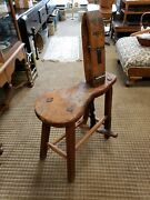 Local Pickup Only Early 1800's Primitive Wood And Leather Cobblers Work Bench