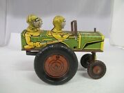 Vintage Mar Toys Jumping Jeep Wind-up Tin Toy 575-e