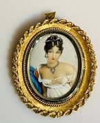 Hand Painted Brooch/ Pin Of A Lady In 18kyg