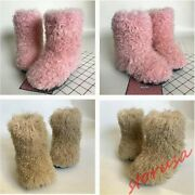 Womens Real Lamb Wool Fur Boots Hidden Heels Pull On Ankle Boots Warm Shoes Size
