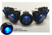 Pactrade 5pcs Boat Automotive Car Small Round Blue Led Rocker Switch Spst On/off